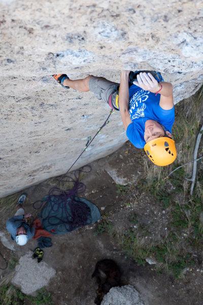 Rock Climbing Photo: Erika moving through the mini roof