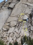 Rock Climbing Photo: Annotated topo from Hackattack's beta shot. It...