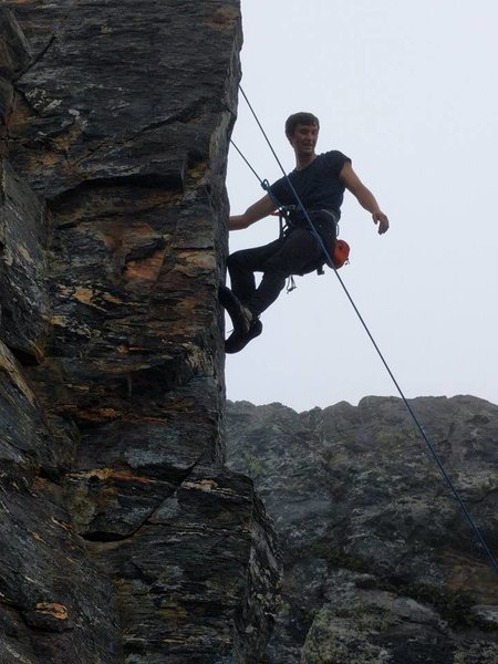 Rock Climbing Photo: Lowering after cleaning the top of the route. The ...