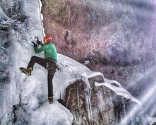 Rock Climbing Photo: Skiy demonstrating the high step, haha
