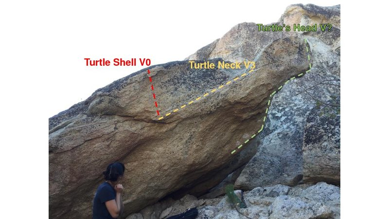 Rock Climbing Photo: Turtle rock with routes described.