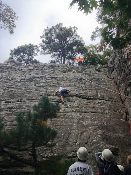 Tr climb teaching boyscouts how to rock climb, Pooh Corner with climber climbing to the left on jugs