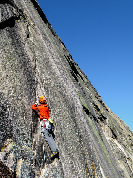 Rock Climbing Photo: Pitch 2 variation if the arching crack is wet or s...