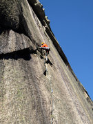 Rock Climbing Photo: Pitch 2 variation joins the top of the arching cra...