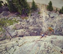 Rock Climbing Photo: Scotty coming up the center of South Fork Slab