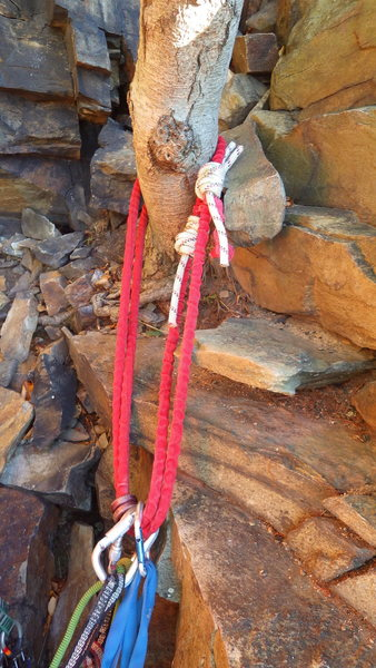 Rock Climbing Photo: Anchor at the top of pitch 3 where Hard-Up Direct ...
