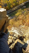 Rock Climbing Photo: Looking down after climbing the chimney on pitch 4