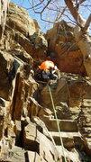 Rock Climbing Photo: Scott climbing the chimney on pitch 4