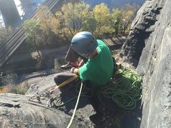 Rock Climbing Photo: Sitting on a ledge at the anchor at the top of pit...