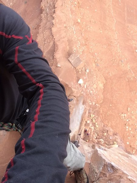 Selfie on the lead of North Chimney, close to the top of the first pitch.