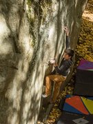 Rock Climbing Photo: Getting the left hand undercling on Ghetto Knowled...