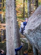 Rock Climbing Photo: Miles getting close on The Topout Problem! Photo b...