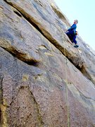 Rock Climbing Photo: Susan just past the roof