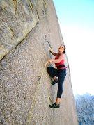 Rock Climbing Photo: Susan getting going on the nice incuts