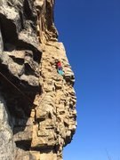 Rock Climbing Photo: Randy leading the 2nd pitch of Easy O at the Gunks...
