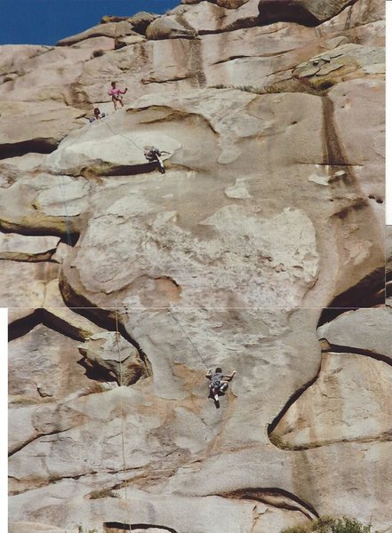 Corky Johnson on the start and at the crux (photo overlap)Raleigh & Jung on the belay ledge
