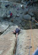 Rock Climbing Photo: 1980's ascent of Geophysical. Warming up for a...