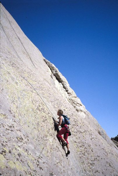 Rock Climbing Photo: 'Overload' last pitch, is the black streak...