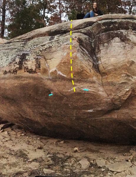 Rock Climbing Photo: Sun Bleached Bum - The two blue marks indicate the...