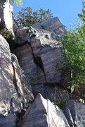 "Rock Climbing Photo: Doug pulling the upper flat edges on ""Working..."