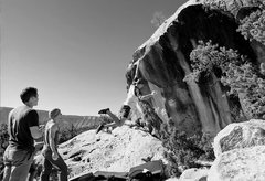 Rock Climbing Photo: Can he hold the swing? Dave Smiley on Pocket Rocke...