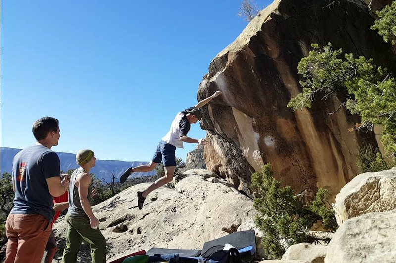 Rock Climbing Photo: Flyin' off Pocket Rocket - Dave Smiley
