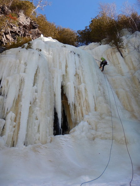 Emma rappelling off the second pitch, March 2016.