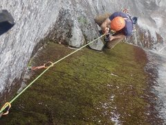 Rock Climbing Photo: Mike Reardon cleaning the Green Gully pitch on the...