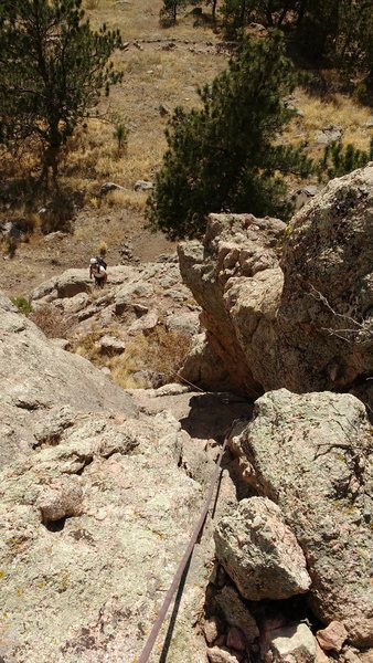 "Rock Climbing Photo: Starting up P1 (""chimney"") from trail co..."