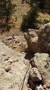 """Rock Climbing Photo: Starting up P1 (""""chimney"""") from trail co..."""