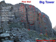 Rock Climbing Photo: Up date topo for the Pink Wall
