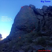 Rock Climbing Photo: Topo to right side of Big Tower