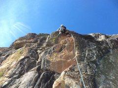 Rock Climbing Photo: Climber having fun on, DIY 5.9.