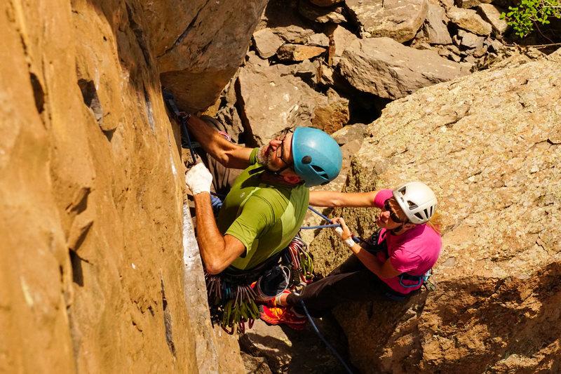 Rock Climbing Photo: Starting up the route. Photo by Carol Kotchek, Esq...
