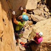 Rock Climbing Photo: Placing gear to protect the start of the crux. Pho...