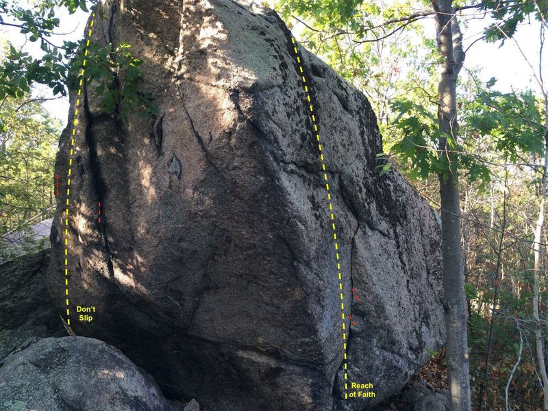 End cap of the boulder, looking north.