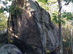 Rock Climbing Photo: End cap of the boulder, looking north.