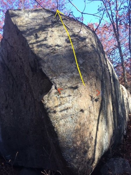 Facing the western end cap of the Southern Sponsor Boulder.