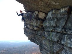 Rock Climbing Photo: That's me, after the p4 traverse, before headi...