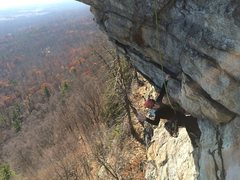 Rock Climbing Photo: Following P3, a nice, mellow roof pull.