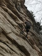 Rock Climbing Photo: Marcus Floyd bolting the new line.