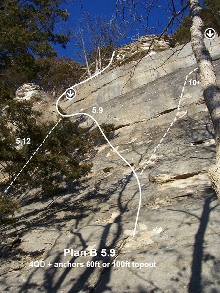 Plan B 5.9, 100 ft, 2 pitch