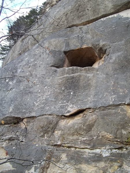 Rock Climbing Photo: The hole is a cave that heads back and connects wi...