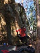 Rock Climbing Photo: Matt getting set to reach for the gaston on OPC.