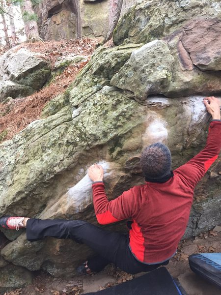 Rock Climbing Photo: Matt working his way over on the warm up for OPC a...
