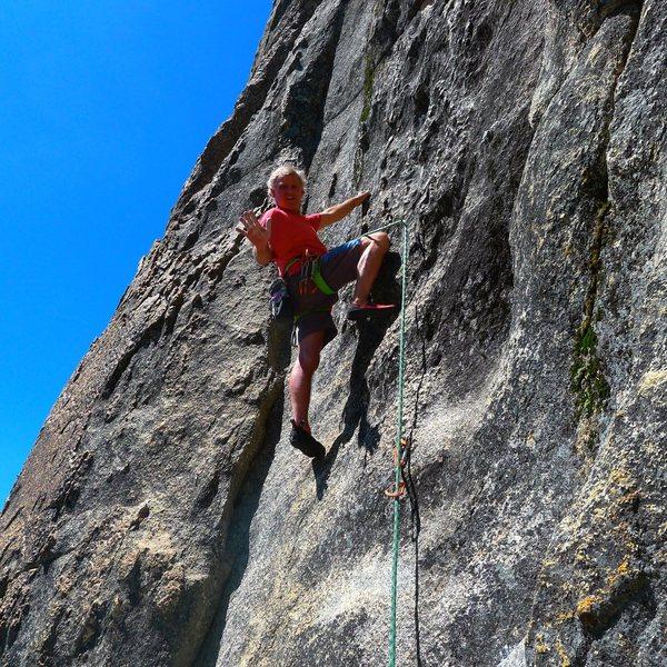 Mike Arechiga climbs a fun 5.10a on Hawk Dome's main wall