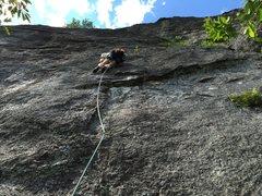 Rock Climbing Photo: Nice butt shot of Erik on the FA