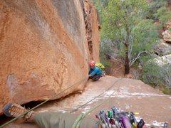Rock Climbing Photo: Pretty nice corner! The white coating is hardened ...