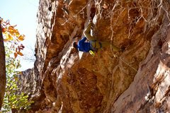 Rock Climbing Photo: Kevin sets the heel hook and prepares to move past...
