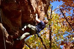 Rock Climbing Photo: William enters the crux and tries to figure out ho...